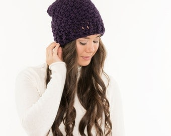 Ready To Ship! SALE - Vegan Crochet Hat Plum Chunky Knit Toque, Slight Slouch Beanie Toque, Womens Warm Cozy Soft Crocheted Handmade