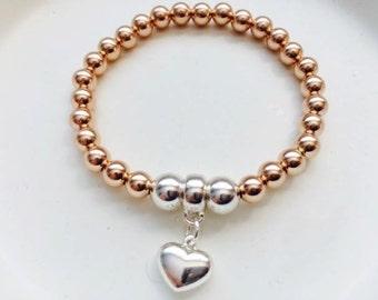 14K Rose  Gold Filled and Sterling Silver Ball Bracelet, Two tone, Stretch bracelet, Heart Charm, Charm Bracelet, thehappylittlebeader