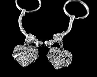 Thelma and Louise keychains set 2 keychains Thelma keychain Louise keychain Best friends BFF  Besties key chains key chain best jewelry gift