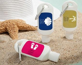 Personalized Sunscreen Favor - Mini Sunscreen Favor - Personalized Wedding Favor - Beach Wedding Favor - Nautical Wedding