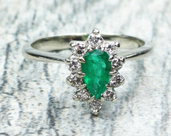Vintage Emerald Ring Diamond Ring 14k White Gold Genuine Emerald Diamond Halo Ring Emerald Ring Natural Emerald Ring May Birthstone Size 7.5