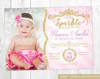 Princess Invitation • Princess 1st Birthday Invite • Pink and Gold Royal First Birthday Party Printable Invitation