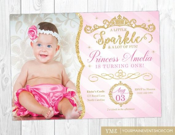Princess Invitation Princess 1st Birthday Invite Pink and Gold
