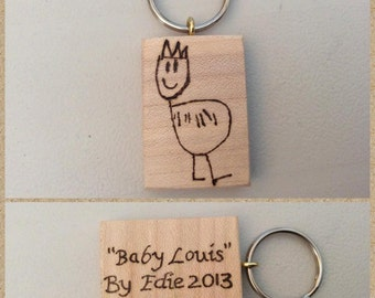 Keep your child's drawing forever on a hand burned keyring