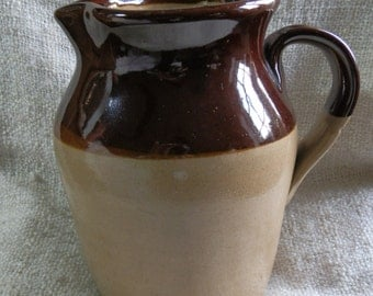 Vintage 1970's Pearsons of Chesterfield Two-Tone Brown Glazed Stoneware Jug / Pitcher