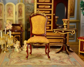 Miniature 1:12 scale, French Louis XV Chair, Dollhouse, Armchair, Furniture, Boudoir, French Furniture