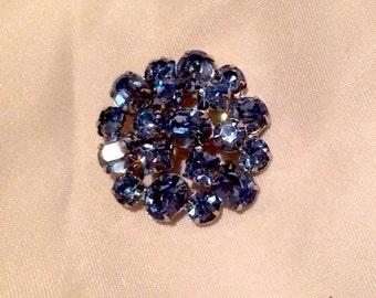 Vintage Blue Crystal Brooch