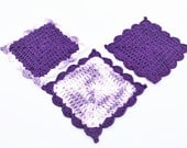 Crochet Dishcloth, Purple Crochet Washcloth, Dishcloth Set, Scalloped Granny Square Dishcloth, Cotton Crocheted Washcloth,Cotton Dishcloths