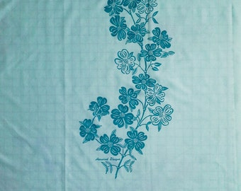 unused vintage Harwood Steiger dress panel fabric -  light aqua blue and teal floral