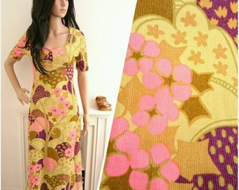 Vintage 60s Dollyrockers Sambo Psychedelic Floral Daisy Maxi Dress Mod / UK 8 / EU 36 / US 4