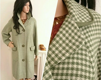 Vintage 50s 60s Green Houndstooth Check Wool Coat Mod Chic / UK 10 12 14 / EU 38 40 42