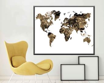 Map World Map Poster  World Map Art World Map Print World Map Wall Art, Sepia Print