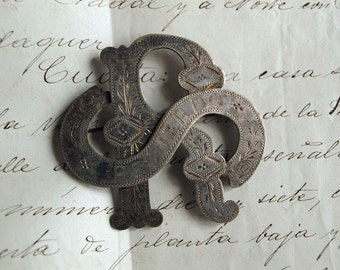 Victorian Large Brooch Engraved  Monogram 'R.S'  Recuerdo Memorial  Silver Alloy Spain Antique Souvenir/850