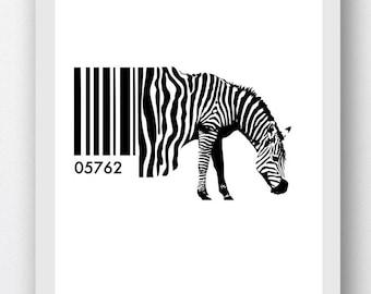 Zebra Barcode Print Digital Prints, Zebra Humor, Zebra Digital Print, Animal Humor Wall Art, Zebra Pictures, Zebra Paintings, Zebra Humor