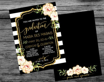 Graduation Ceremony & Celebration Invitation - CUSTOMIZABLE PRINTABLE INVITATION - Floral, Peony, Black and White Stripe, Gold Glitter