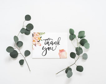 PRINTABLE Art Thank You Card Wedding Thank You Card Boho Floral Thank You Card Watercolor Floral Thank You Card Boho Thank you Shower Thank