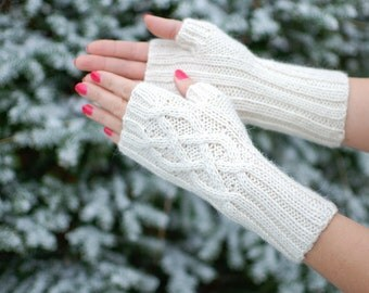 Baby alpaca fingerless gloves - fingerless mitts baby alpaca organic supersoft - Cable Knit Women winter accessories natural white