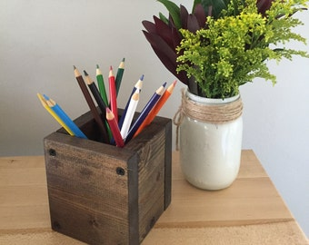 Pencil Holder, Rustic Wood Desk Organizer, Wooden Pen Holder, Office organizer