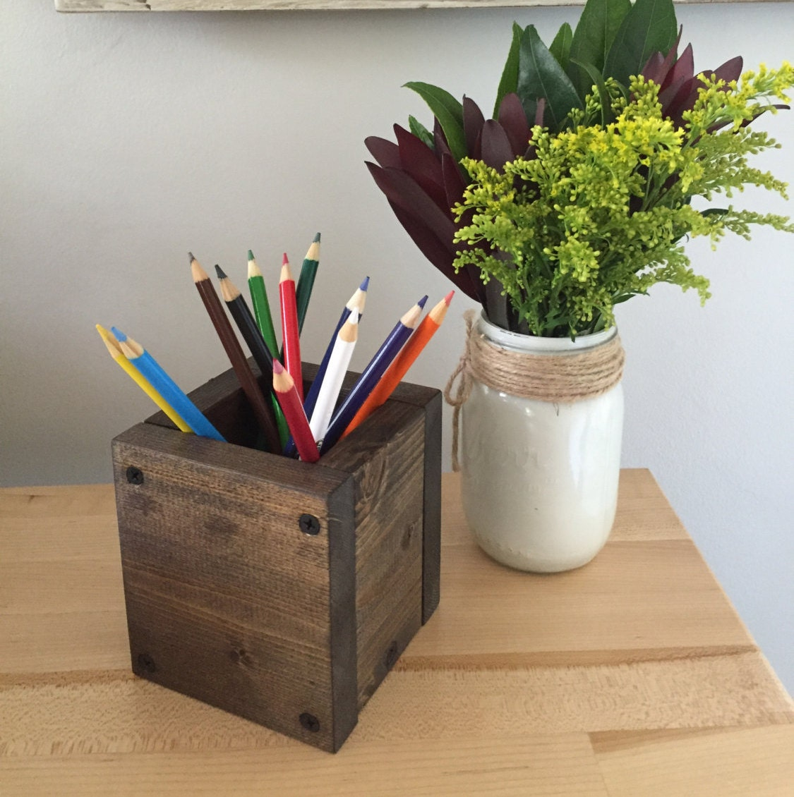Pencil Holder Rustic Wood Desk Organizer Wooden Pen Holder