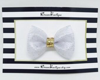 White Glitter Tulle Hair Bow, Gold Hair Bow, White Glitter Hair Bow, Gold Glitter Hair Bow, White Hair Bow