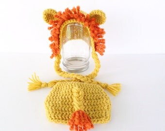 Newborn Lion Hat and Diaper Cover Photography Prop