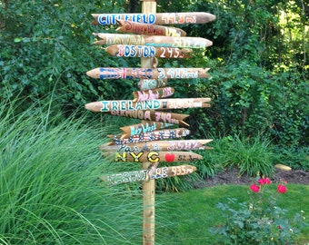 5 PACK Handmade Personalized Destination Mileage Signs