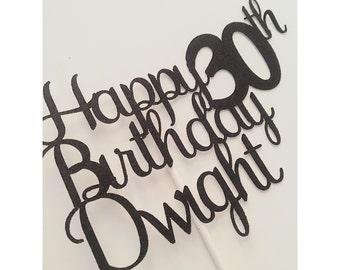 Happy Birthday Cake topper, Custom 30th Birthday cake Topper, 30th birthday cake topper, Happy 30th birthday, Happy Birthday- 1 cake topper