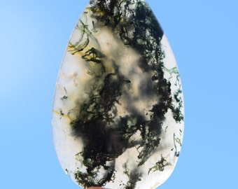 Moss Agate Cabochon, shiny variegated green, gray, translucent, 40.5 x 25 mm, Teardrop shape