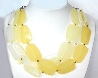 Yellow Necklace / Yellow Bib / Yellow Collar / Big Bead / Multi Strand / Layered / Statement / Chunky / Yellow / Light Yellow / White / Gold