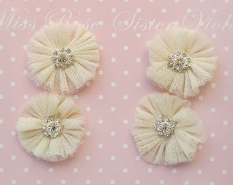 tulle embellishments. tulle and crystal flower adornments for craft and sewing projects. wedding and birthday decor.
