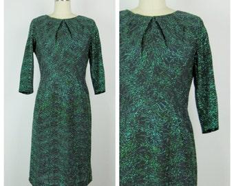 Vintage 1950s Dress / 50s Green Lurex Tinsel Wiggle Dress / Medium