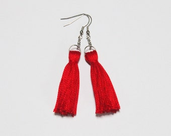 Red tassel earrings, coton tassel earrings, fringe tassel jewelry