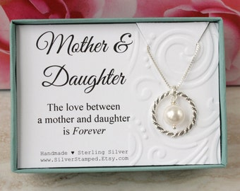 Gift for Mother of the Bride gift from Daughter Gift for mom sterling silver necklace eternity circle Swarovski pearl wedding gift