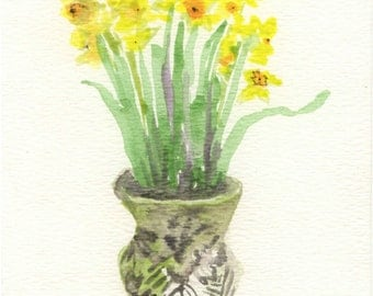 Yellow Trumpets. Watercolor Greeting Card