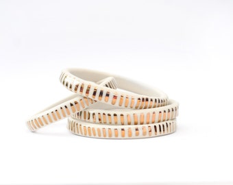 SIZE LARGE - Copper Dash Pattern - White Light - Ceramic Stoneware Bangle