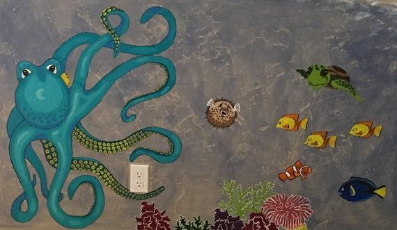 Easy Ocean Wall Mural Pattern Paint By Number 33