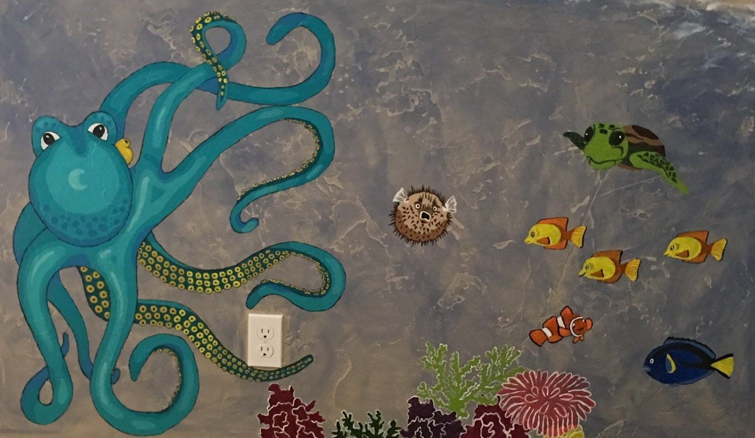 easy ocean wall mural pattern paint by number 33 this is a digital file
