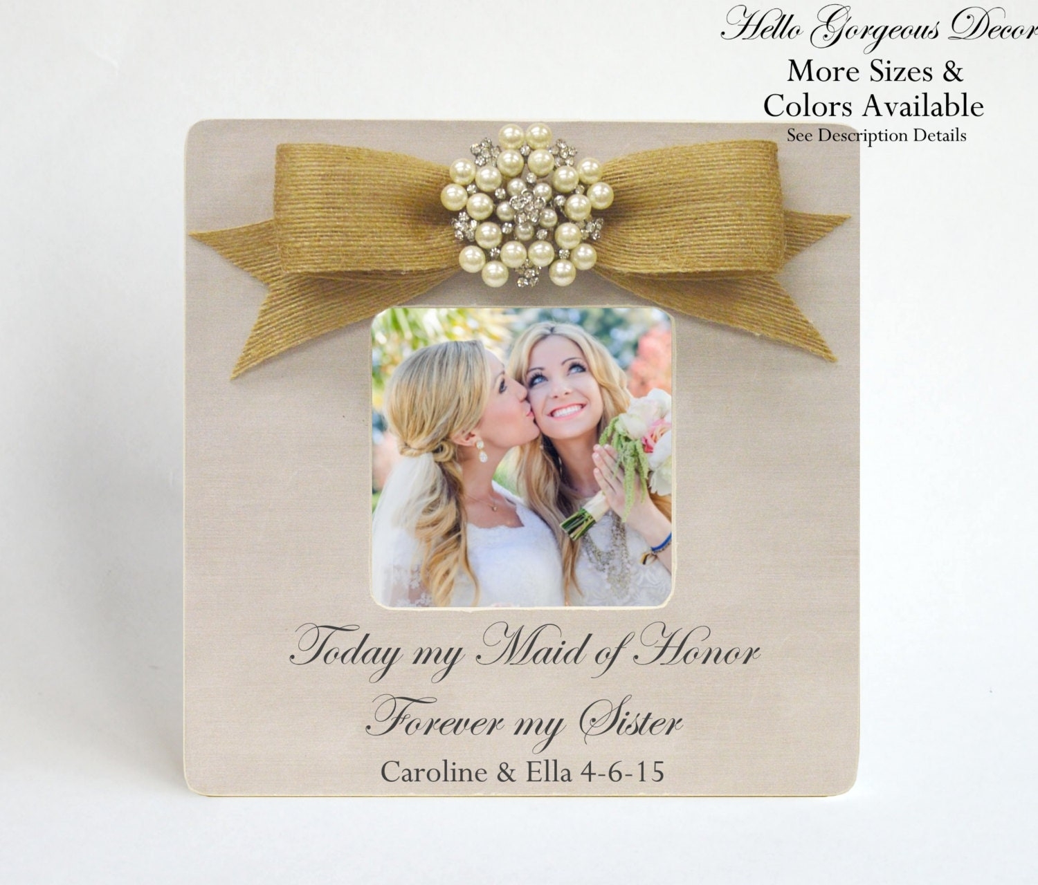 Maid Of Honor Sister Thank You Gift Picture Frame Personalized