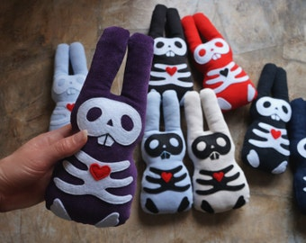 Cute skull bunny plush. Ecofriendly rabbit soft toy. Gothic, dark, creepy babysafe softie. Halloween
