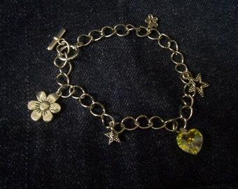 Handmade Charm Bracelet Flowers, Stars and Hearts