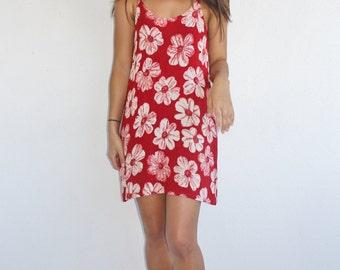 VTG 90s Red Floral Summer Dress, Small, 90s Summer Dress, 90s Mini Dress, 90s Floral Dress, Floral Summer Dress, Red Floral Dress