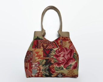 Tapestry tote bag, gobelin handbag,  fall colors, tapestry shoulder bag, tapestry bag, bohemian tote bag,  carpet bag,roomy bag