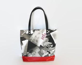 Zippered tote bag ,Marilyn Monroe shoulder bag, vegan leather bag,  Marilyn M. bag, roomy tote bag, every day bag, city bag, leather straps