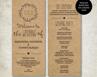 Classic Wreath Wedding Program Template Download, Editable Text, Kraft Wedding Program, Instant Download PDF template, Tealength