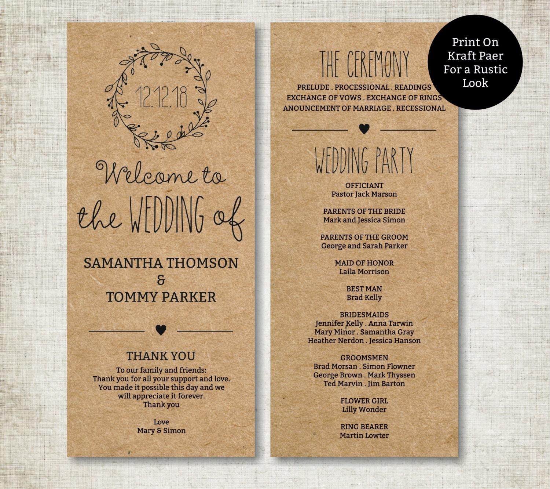Programs: Classic Wreath Wedding Program Template Download Editable