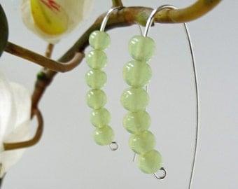 Green Serpentine stone earrings - Serpentine gemstone earrings - hand forged earrings - artisan silver earrings - green gemstone - UK made