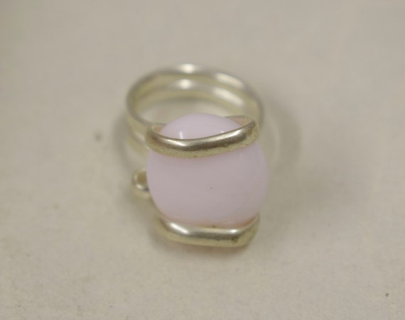 Ring Silver Baby Pink Colored Glass Handmade Glass Silver Jewelry Ring Fun Baby Pink Color Glass Unique