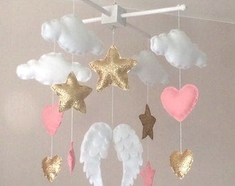 Baby mobile - Baby girl mobile - Cot mobile - Angel wings, clouds, hearts and stars mobile - Cloud Mobile - Nursery Decor - gold and pink.