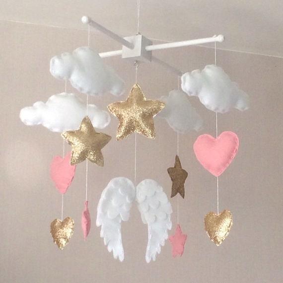baby mobile baby girl mobile cot mobile angel wings. Black Bedroom Furniture Sets. Home Design Ideas