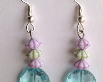 Aqua Purple Pink Purple Blue Multicolor glass Beaded Dangle Earrings, silver plated hypoallergenic fish hooks beads